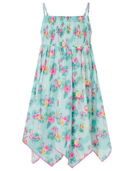 Flamingo Dress in Organic Cotton Blue, Blue (AQUA), large