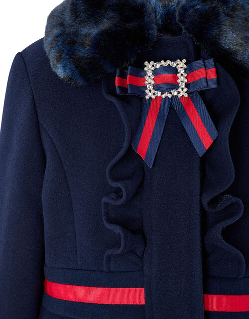 Navy Pleated Coat with Diamante Bow, Blue (NAVY), large