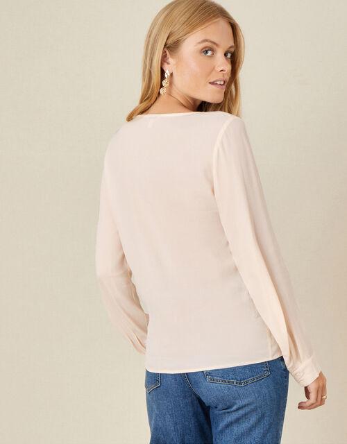 V-Neck Long Sleeve Top, Cream (CREAM), large