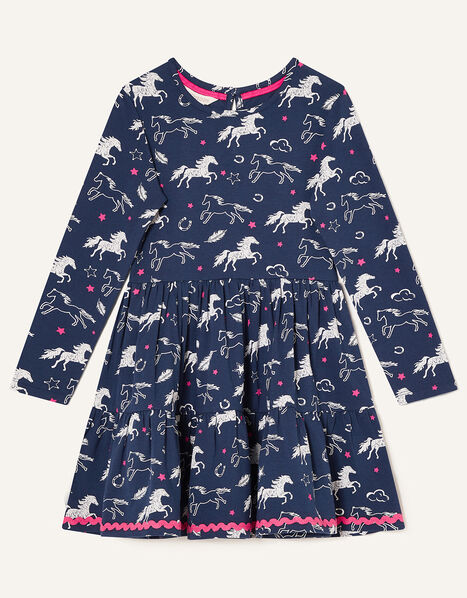 Lana Horse Print Jersey Dress Blue, Blue (NAVY), large