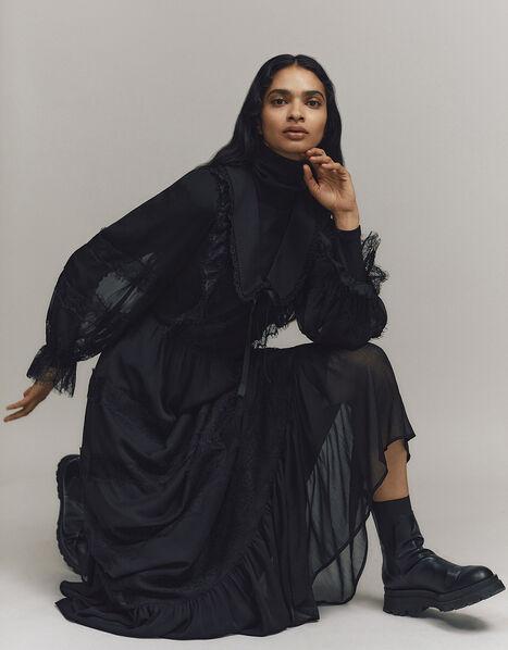 Lace Trim Collared Maxi Dress Black, Black (BLACK), large
