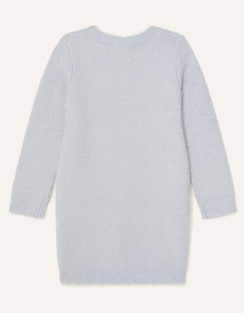 Sequin Swan Knit Dress, Grey (GREY), large