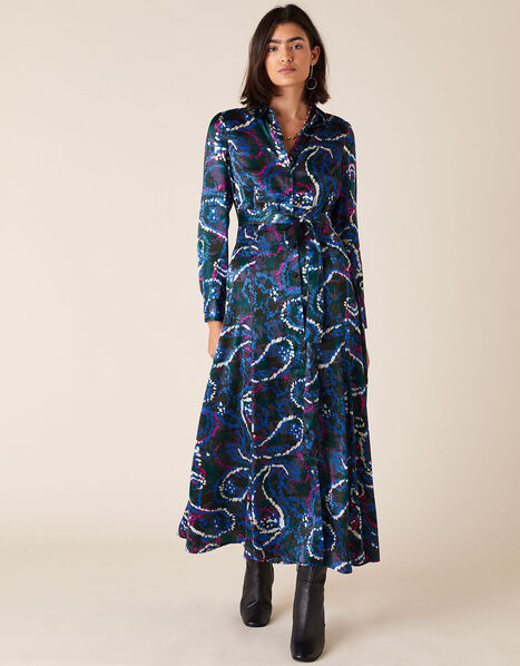 Paisley Print Satin Shirt Dress Blue, Blue (NAVY), large