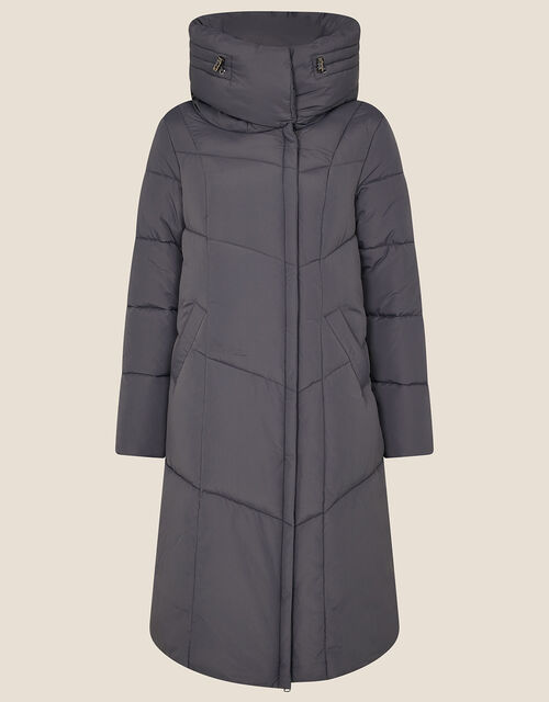 Longline Hooded Padded Coat, Grey (CHARCOAL), large