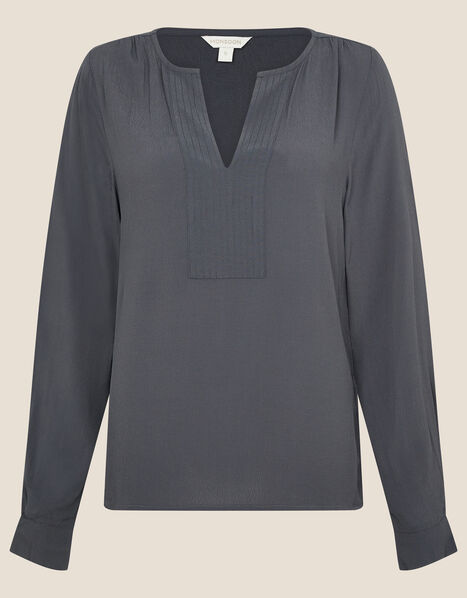 V-Neck Long Sleeve Top Blue, Blue (PETROL), large