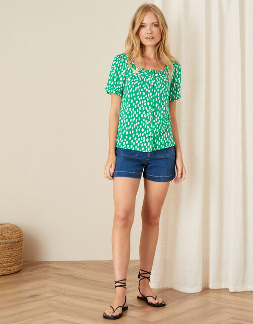 Square Neck Printed Top, Green (GREEN), large