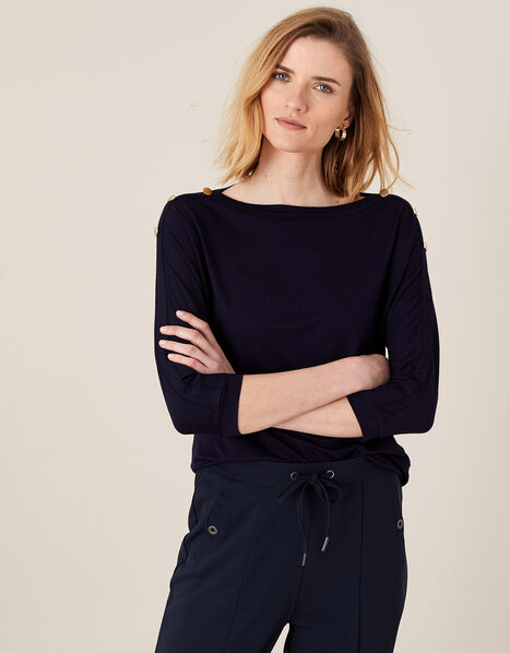 Pryla Long Sleeve Top with LENZING™ ECOVERO™ Blue, Blue (NAVY), large