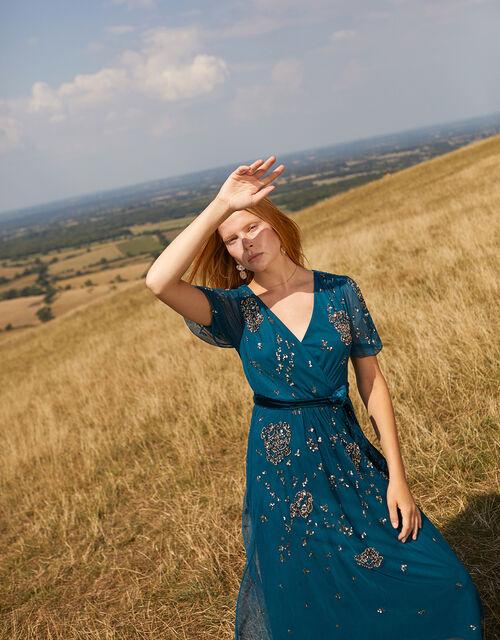Roza Embellished Midi Dress, Teal (TEAL), large