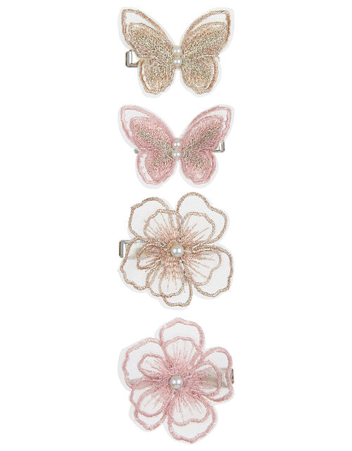 Lacey Butterfly and Flower Hair Clip Set, , large