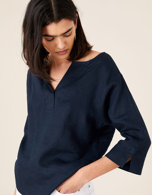 Daisy Plain T-Shirt in Pure Linen, Blue (NAVY), large
