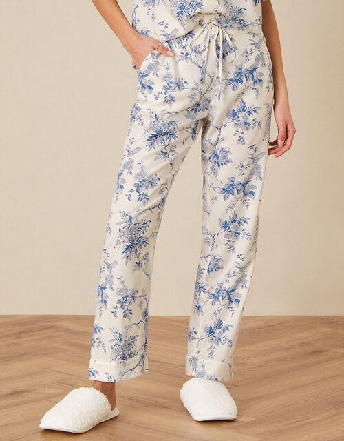 Bird Floral Pyjama Bottoms , Ivory (IVORY), large