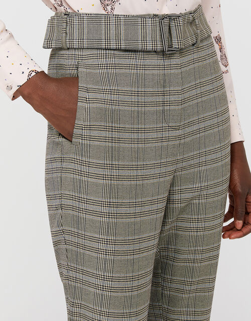 Ettie Check Wide Leg Trousers, Grey, large