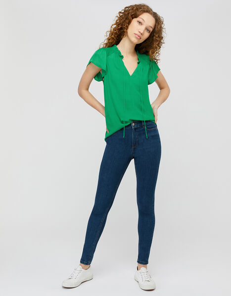Woven Front Jersey Top Green, Green (GREEN), large