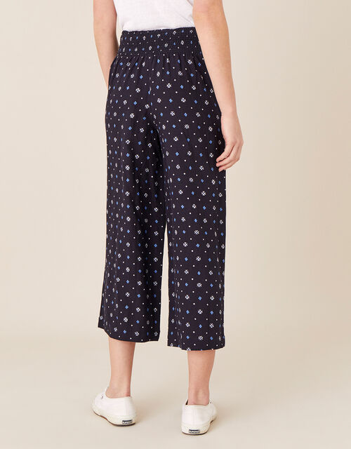 Dolly Printed Trousers in Pure Linen, Blue (NAVY), large