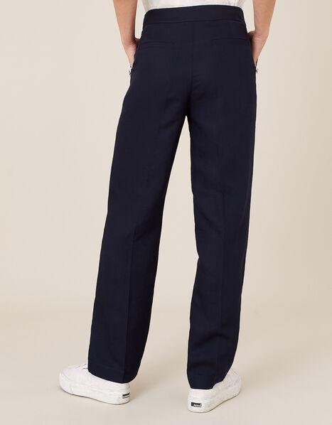 Smart Longer Length Trousers in Linen Blend Blue, Blue (NAVY), large