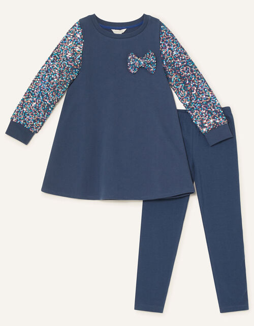 Sequin Sleeve Bow Tunic and Leggings, Blue (NAVY), large