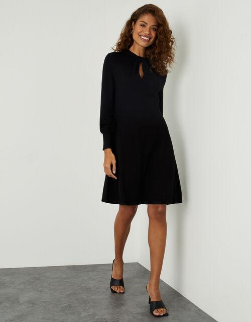 Twist Front Long Sleeve Dress, Black (BLACK), large