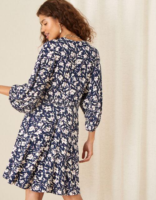 Floral Print Shirred Jersey Dress, Blue (NAVY), large