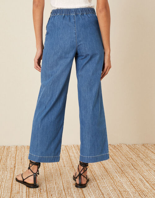 Pull-On Denim Culottes, Blue (DENIM BLUE), large