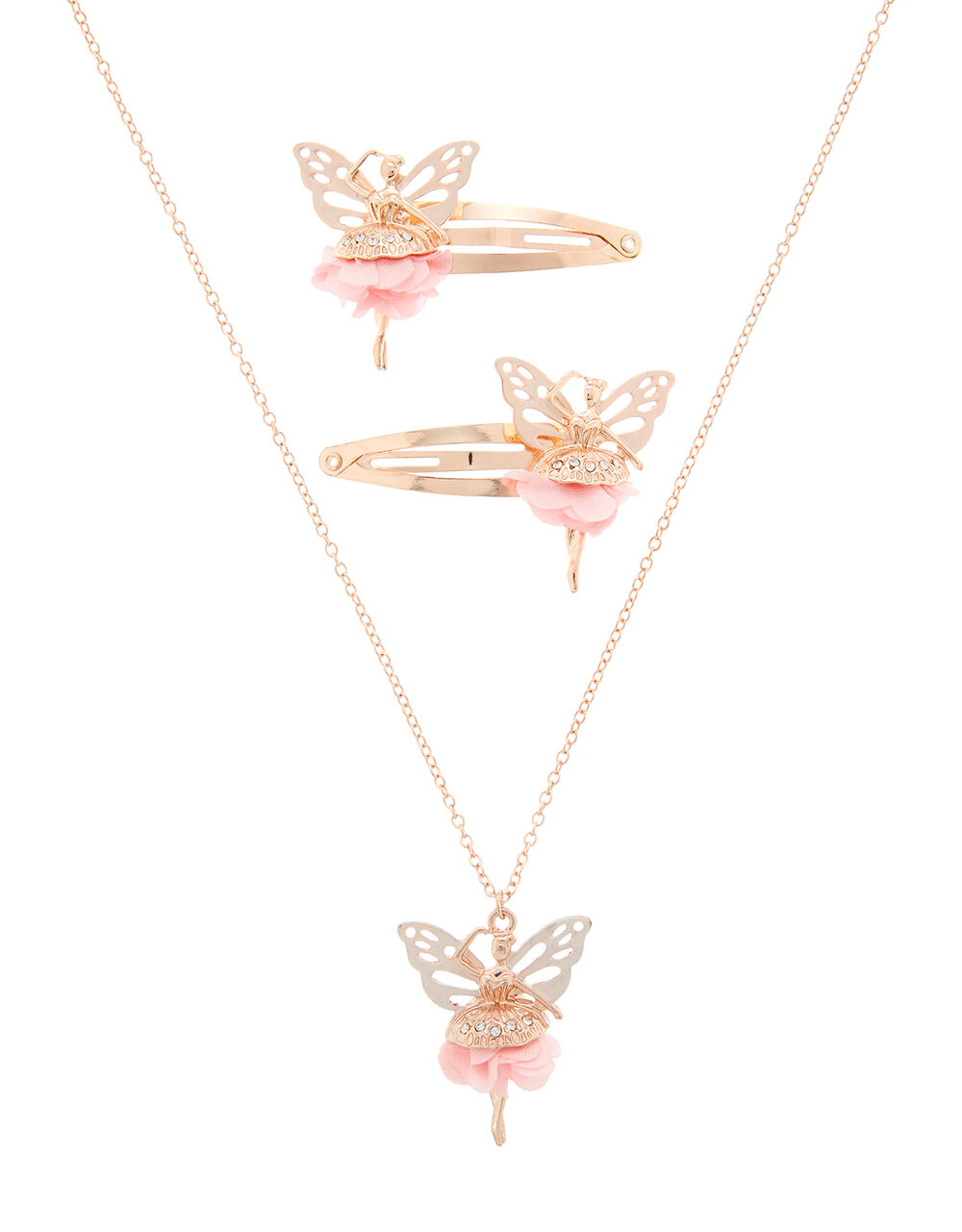 Ballerina Butterfly Necklace and Hair Clip Set, , large