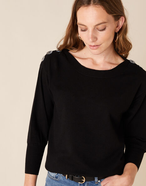 Button Shoulder Knit Jumper with Recycled Nylon Black, Black (BLACK), large
