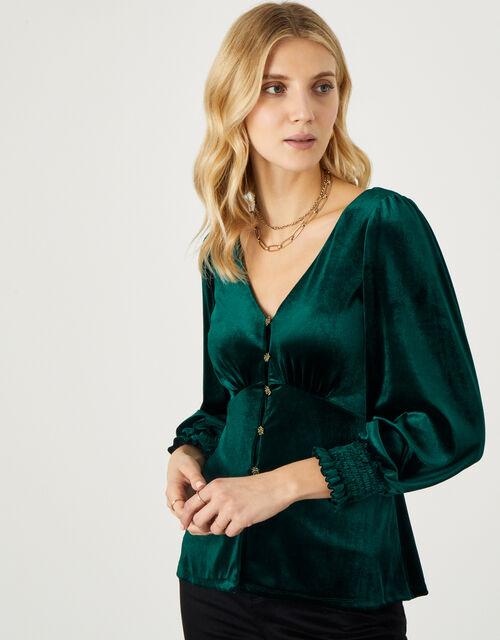 Gracie Button Through Velvet Blouse, Green (GREEN), large