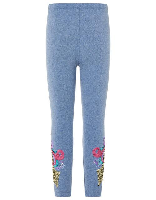 Rainbow Unicorn Leggings in Organic Cotton, Blue (BLUE), large
