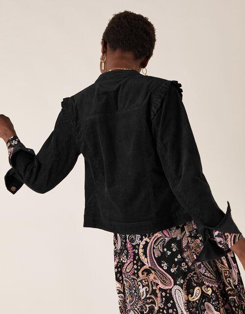 Cord Frill Jacket, Black (BLACK), large