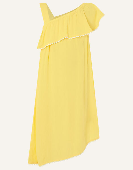 One-Shoulder Frill Dress in LENZING™ ECOVERO™ Yellow, Yellow (YELLOW), large