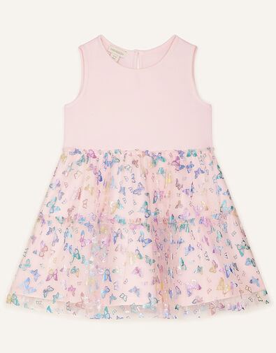 Butterfly Foil Print Tiered Dress Pink, Pink (PINK), large