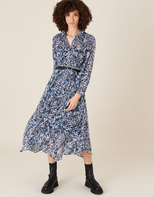 Printed Hanky Hem Shirt Dress in Sustainable Viscose , Blue (BLUE), large