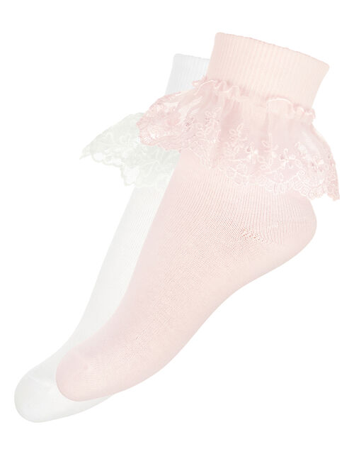 2 Pack Lace Socks, Pink (PINK), large