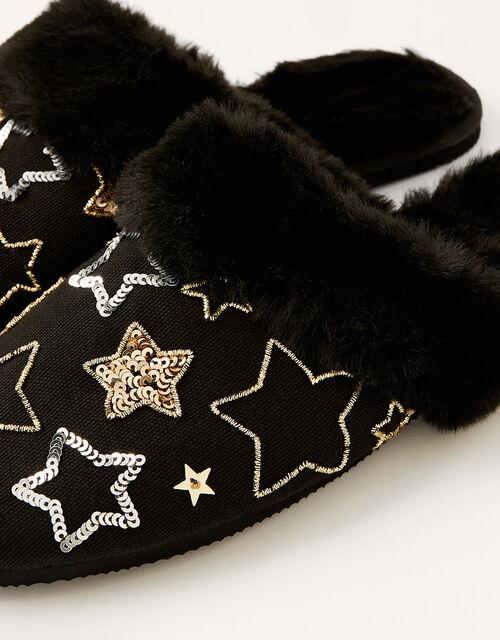 Sequin Star Faux Fur Slippers, Black (BLACK), large