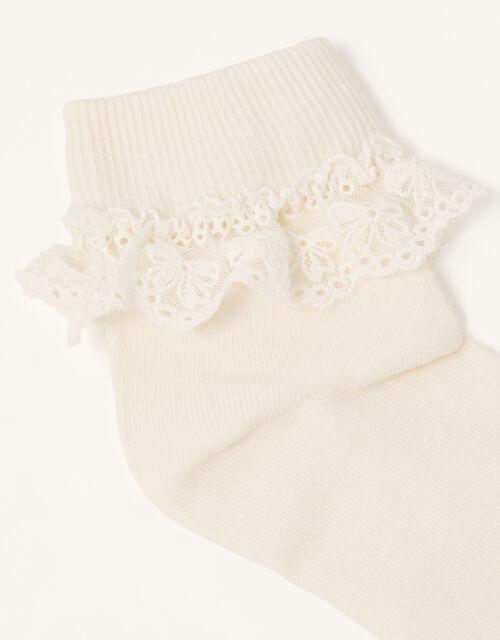 Olivia Lace Trim Socks, Ivory (IVORY), large