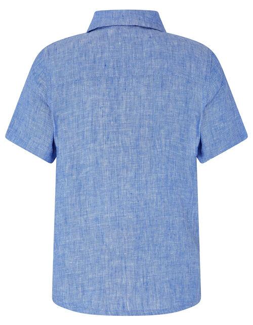 Luke Linen Short Sleeve Shirt, Blue (BLUE), large