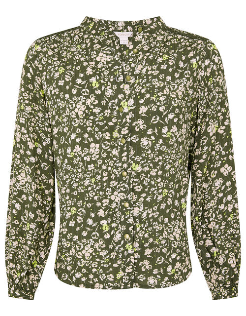 Ditsy Floral Top in LENZING™ ECOVERO™, Green (KHAKI), large