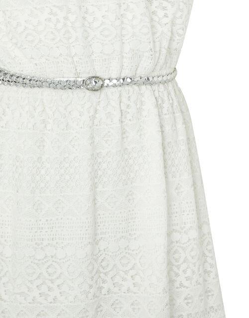 Leah Lace Bardot Dress with Belt, Natural (IVORY), large