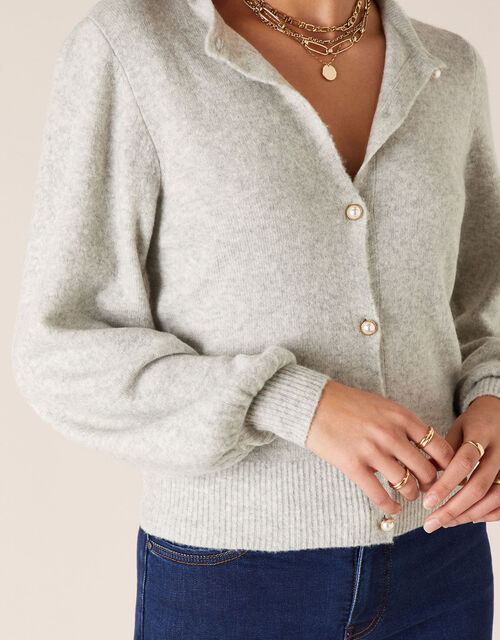 Pearl Button Cropped Cardigan, Grey (GREY), large