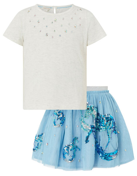 Disco Water Horse Sparkle Top and Skirt Set Blue, Blue (BLUE), large