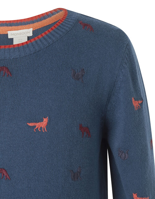 Embroidered Fox Knit Jumper in Organic Cotton, Teal (TEAL), large