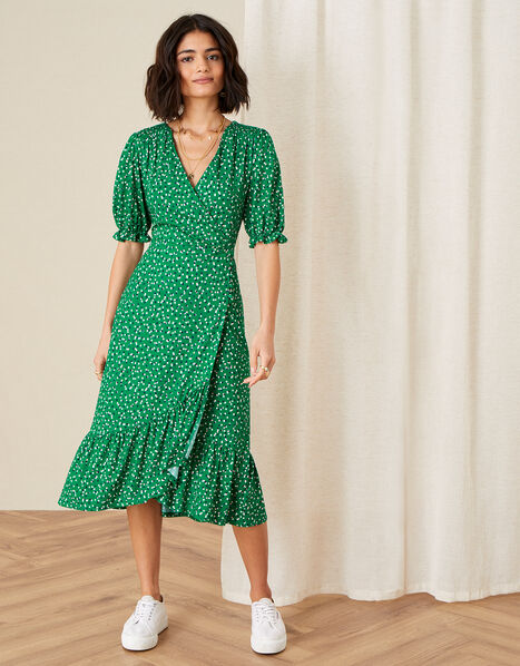 Britt Spot Print Jersey Wrap Dress Green, Green (GREEN), large