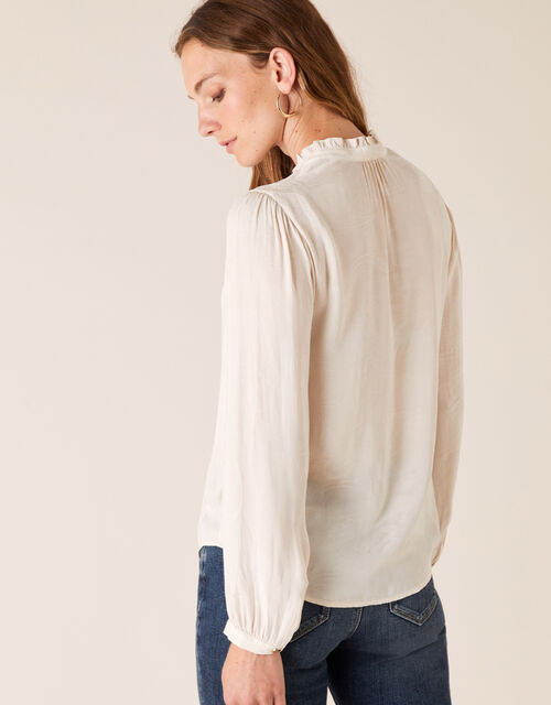 Paisley Jacquard Blouse with Recycled Fabric, Cream (CREAM), large