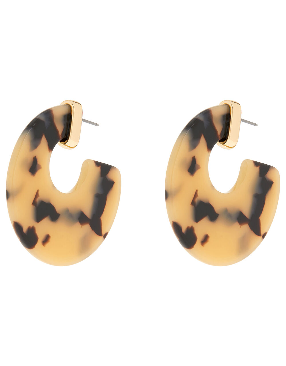 Tortoiseshell Chunky Hoop Earrings, , large