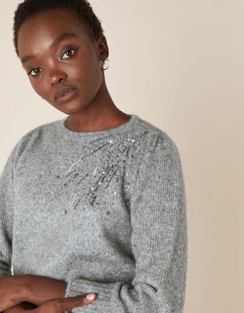 Embellished Shoulder Knit Jumper, Grey (CHARCOAL), large