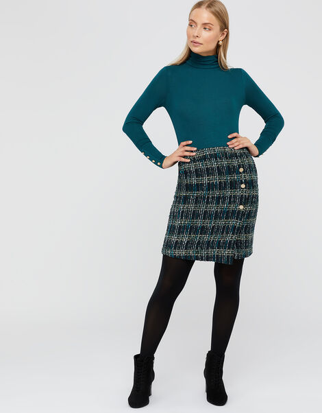 Talia Check Mini Skirt Teal, Teal (TEAL), large
