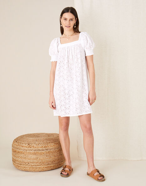 Broderie Square Neck Dress White, White (WHITE), large
