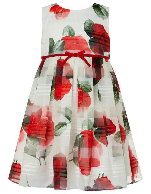 Baby Valentine Striped Rose Dress, Ivory (IVORY), large