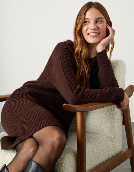 Cosy Cable Crew Neck Knit Dress Brown, Brown (CHOCOLATE), large