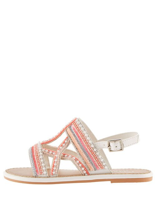 Cross Strap Beaded Sandals , Pink (PINK), large