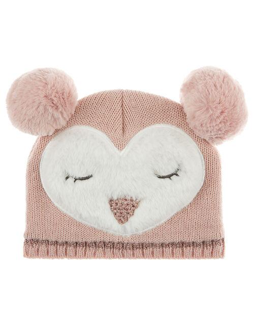 Baby Pom-Pom Owl Knit Beanie, Pink (PINK), large